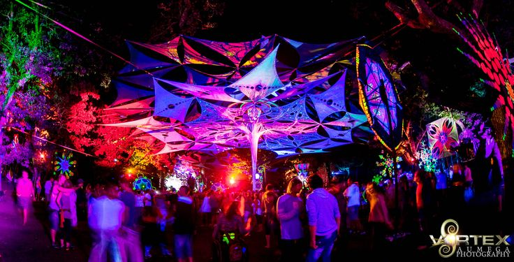 Festival decor, shade system, UV active, Avatar tree, psychedelic, psytrance festival taken at Vortex OpenSource 2014 at the Circle of Dreams, Cape Town South Africa
