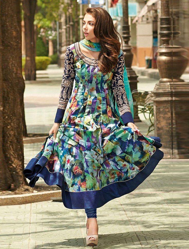 Designer Multi Colour Bhagalpuri Printed Semi-Stiched Long Anarkali Suit.