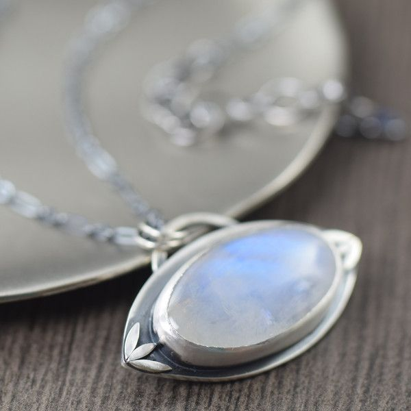 Moonstone sterling silver hand fabricated pendant necklace. One of a kind.