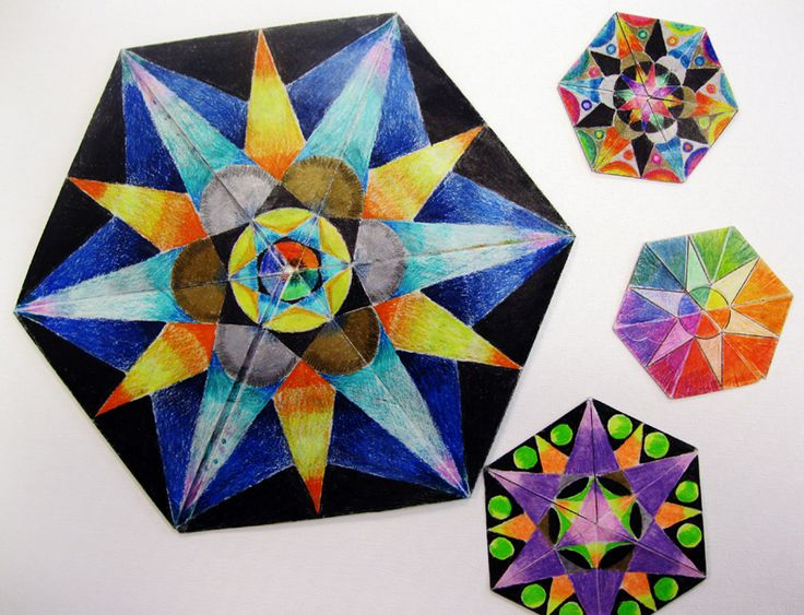 Edon Northwest -great resource for math connected art lessons.  MC Escher and Flexagons