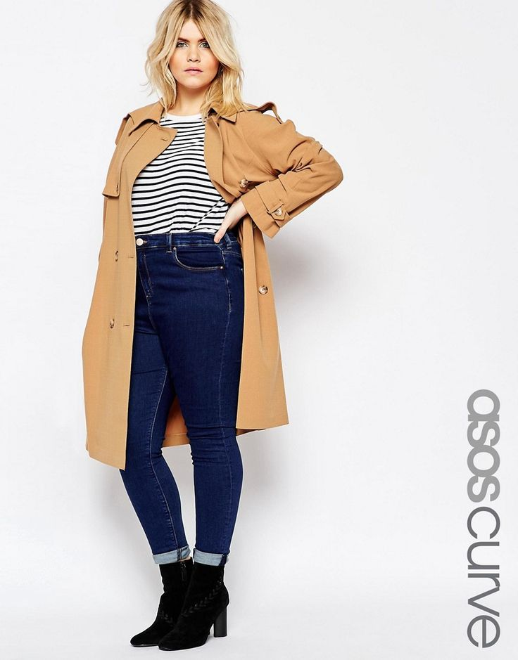 Image 1 of ASOS CURVE Trench in Midi Length