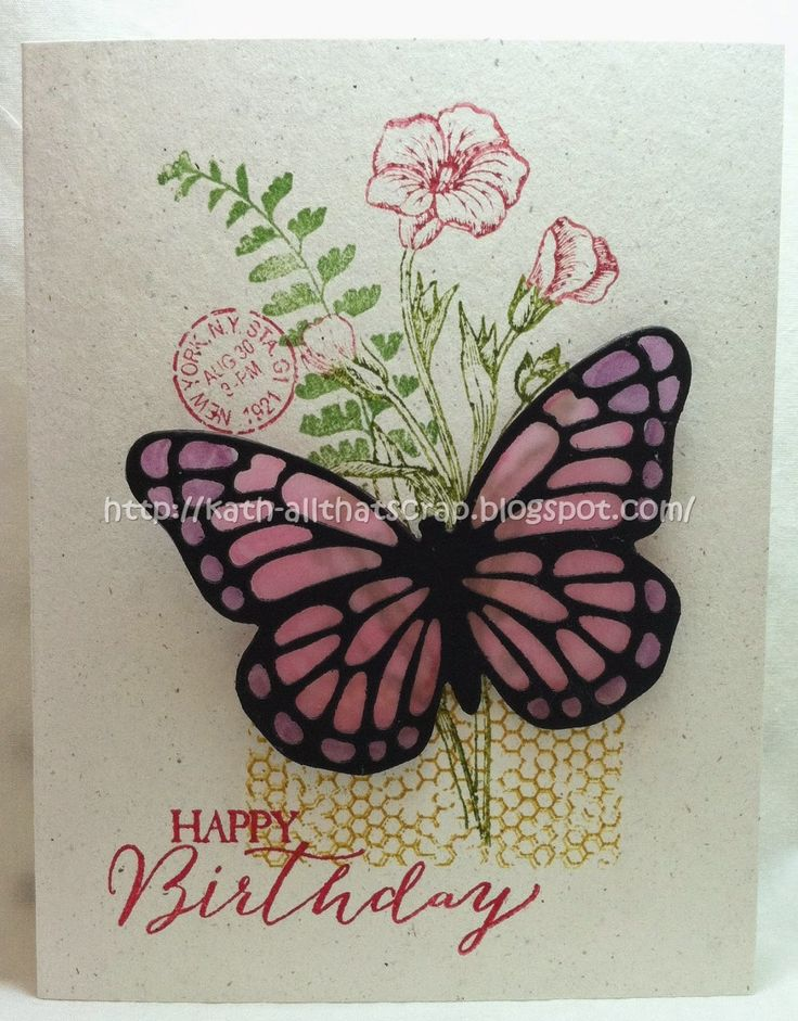 """By Kath Ricks. Uses """"Butterfly Basics"""" stamp set and """"Butterfly Framelets"""" die. Die-cut butterfly is back with inked vellum. Stamps and die by Stampin' Up."""