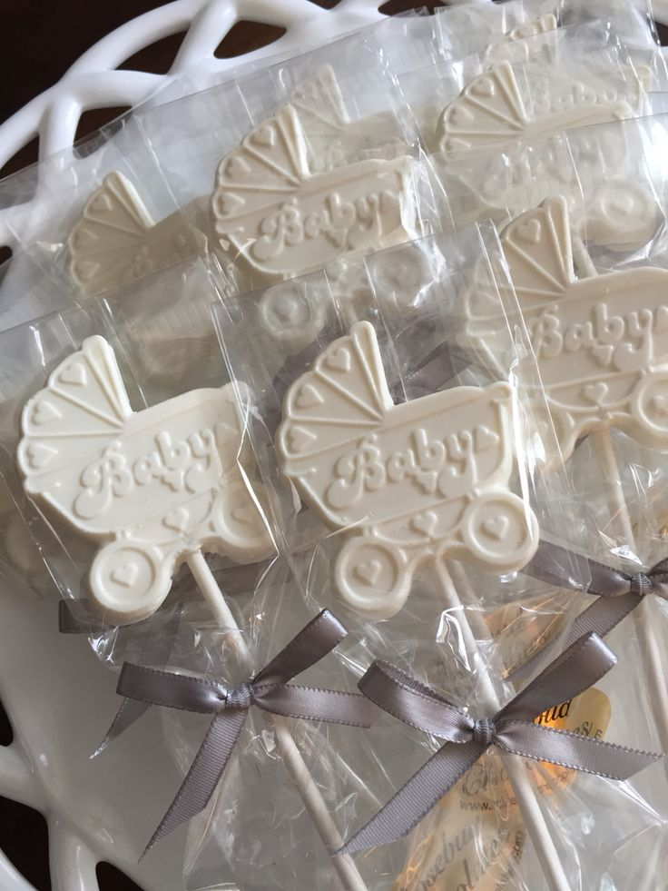 "White Chocolate ""Baby"" Buggy Carriage Stoller Candy Lollipop Favors... Baby Shower Ideas www.etsy.com/shop/rosebudchocolates"