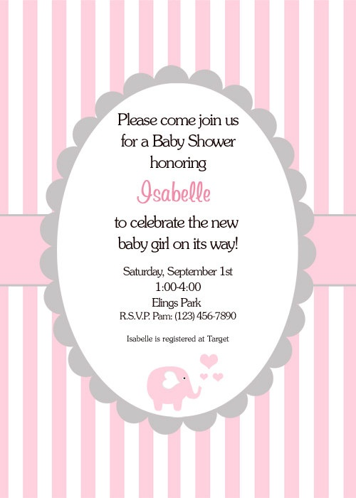 Baby Girl Shower Invitation- Printable File- Personalized Item Pink Elephant