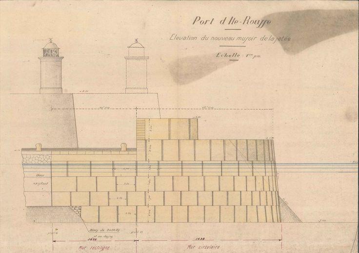 Île Rousse. Elévation du musoir. Arch nat F/14/20255