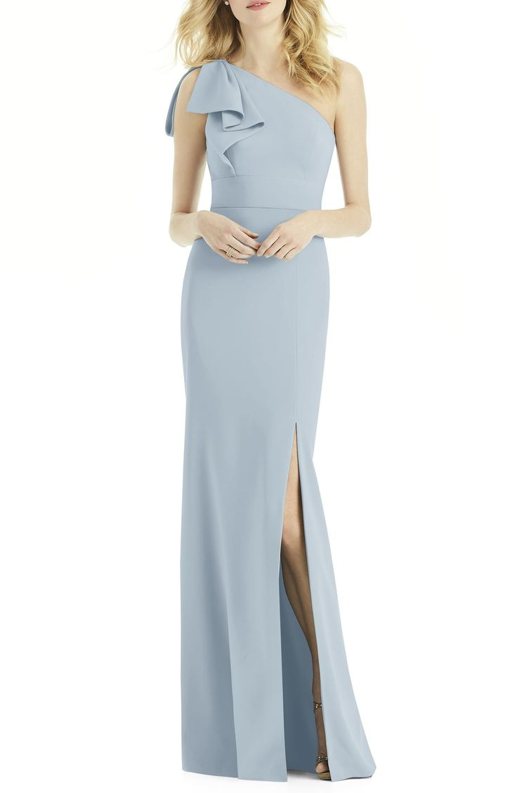 After six bow oneshoulder gown nordstrom gowns