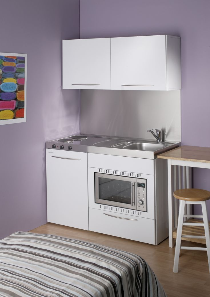 The Elfin Kitchens M-120 Standard kitchen with 28 litre combi oven & grill, right hand bowl and hotplates | Elfin Kitchens