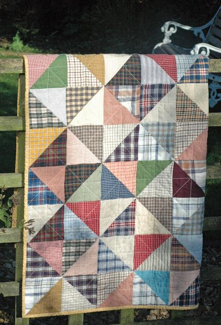 Making quilt from recycled men's dress shirts