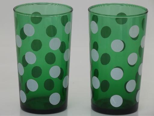 vintage Anchor Hocking glasses, polka dot forest green glass tumblers $9.50