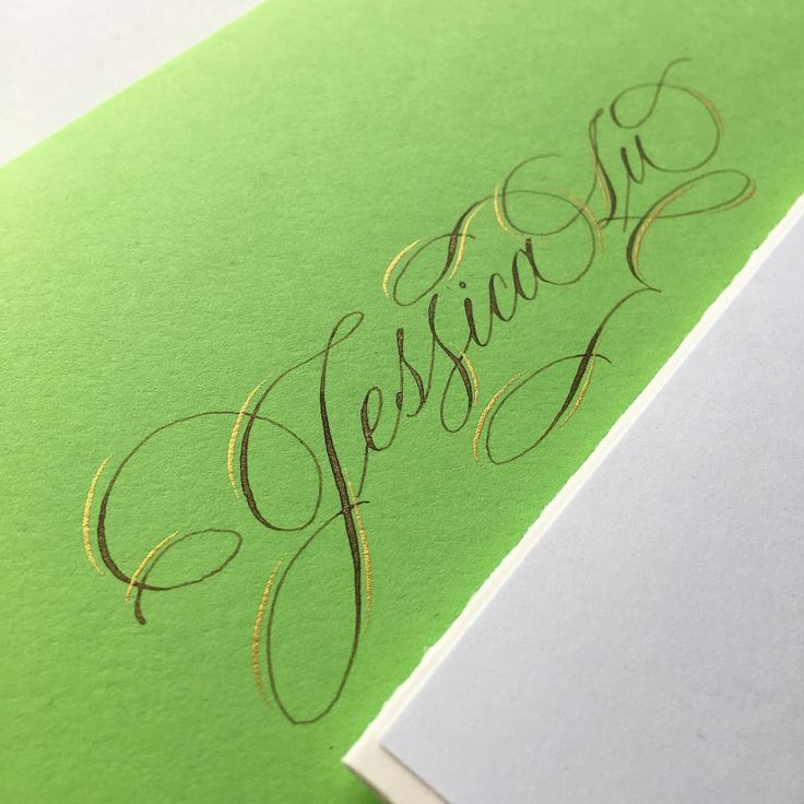 Melon green envelope and card for Jessica Lu ✉️ I don't usually use this colour but I really love how it turned out paired with walnut ink and finetec gold. A loopy majuscule J and double s variation to add a playful touch! . #happyvalentinesday #customcards #valentinesday #greetingcard