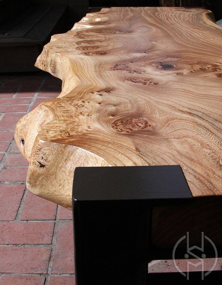 Gorgeous Siberian Elm Bench With Powder Coated Steel Legs · Studio FurnitureLog  FurnitureCustom FurnitureDenver ...