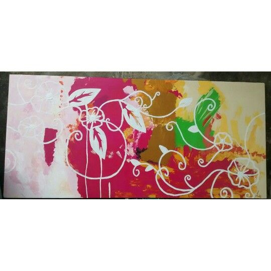 Cuadro abstracto moderno,con espátula y flores en alto relieve.