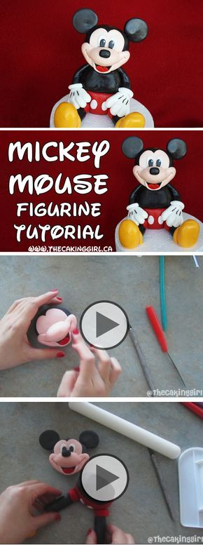 DIY How to make a Mickey Mouse figurine tutorial. Edible Mickey Mouse gumpaste figurine.