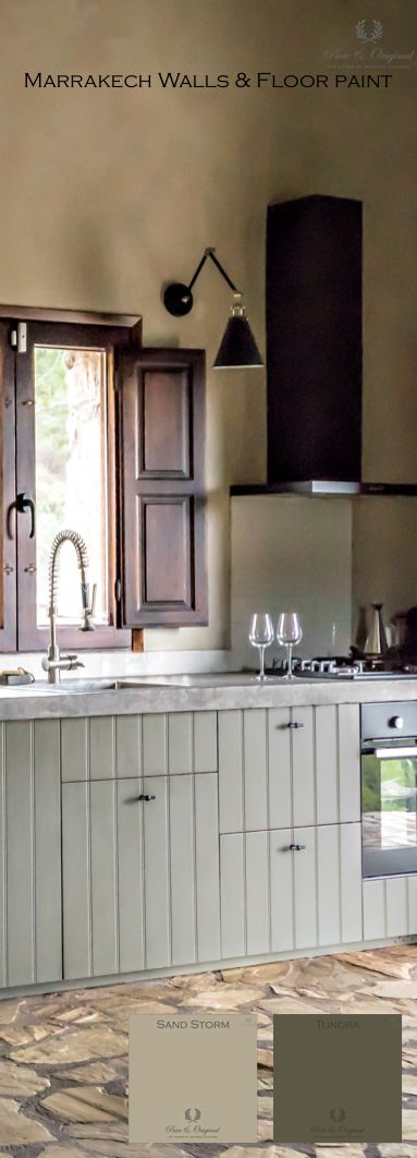 This kitchen is painted in the floor paint, colour Tundra. See what you can make out of a Ikea kitchen. The wall is painted in Marrakech Walls tadelakt look, in the colour Sand Storm.   Deze keuken, van Ikea, is geschilderd met floor paint, vloerverf, kleur Tundra. De wand is gedaan met de Marrakech Walls in tadelakt look. kleur Sand Storm.  More information, take a look  at www.pure-original.com of kijk even bij www.pure-original.nl