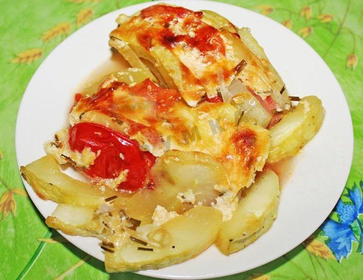 Овощная запеканка из кабачков с картофелем и помидорами ...
