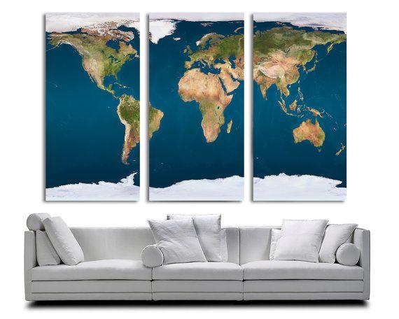 24 best 3 panel split abstract world map canvas print images on 3 panel split world map canvas print15 deep framestriptych world map art for homeoffice wall decor interior design gumiabroncs Choice Image