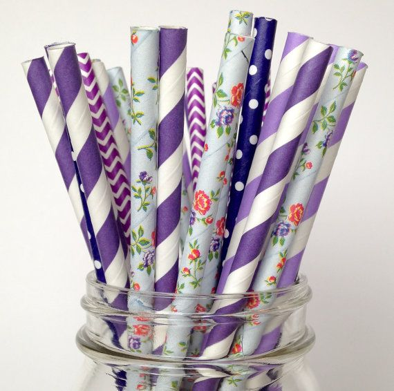 Purple Straws Lilac baby shower Purple by Twigsandtwirlsllc