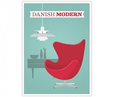 danish modern arne jacobsen aegget ph lampe retro plakat