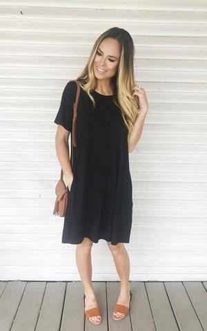 Rex. Black midi dress. Midi tshirt dress. Solid black tshirt dress. Comfy casual.