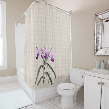 Just Orchids on Antiqued Background Shower Curtain - watercolor gifts style unique ideas diy