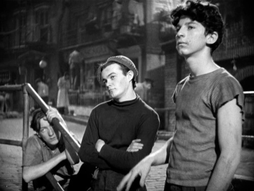 Huntz Hall, Leo Gorcey, and Billy Halop - 3 of The Dead End Kids - in William Wyler's Dead End (1937)