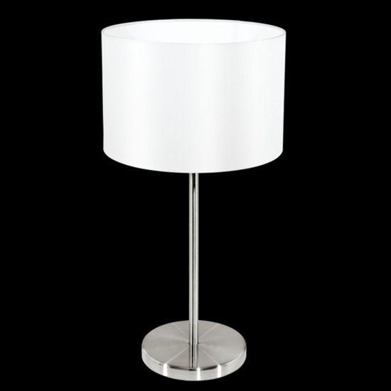 Lampa stołowa Maserlo wykonana jest z metalu i materiału w kolorze białym