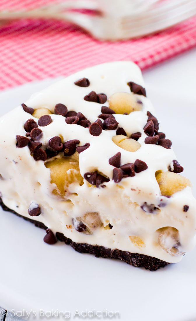 A creamy ice cream pie loaded with homemade chocolate chip cookie dough and mini chocolate chips.