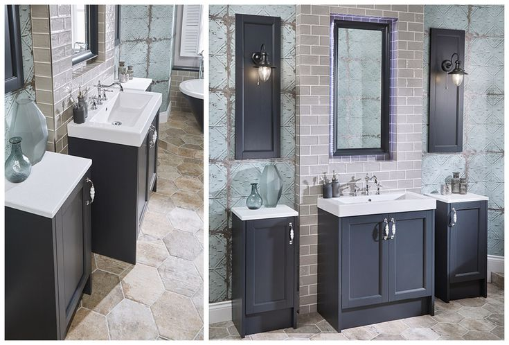 Crackle chrome bar handle contrast beautifully with painted timber furniture in London Grey finish #Roseberry #paintedtimber #bathroomfurniture #myutopia
