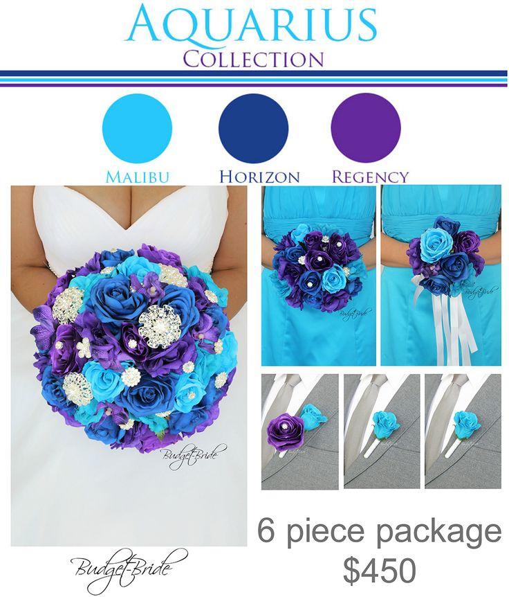 Malibu Davids Bridal Wedding Flowers horizon blue purple brooch bouquet jewel and bling brides