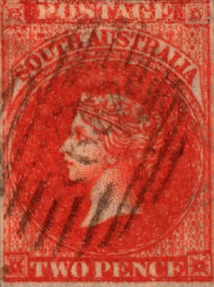 South Australia 1855-1869. Queen Victoria. Two Pence (London Print)