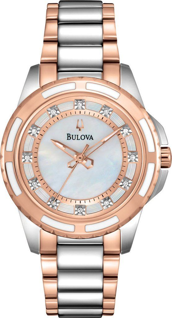 @bulova  Watch Ladies Diamond #bezel-fixed #bracelet-strap-gold #brand-bulova #bulova-core-line #case-depth-8mm #case-material-rose-gold #case-width-32mm #delivery-timescale-call-us #dial-colour-white #fashion #gender-ladies #movement-quartz-battery #official-stockist-for-bulova-watches #packaging-bulova-watch-packaging #style-dress #subcat-diamond #supplier-model-no-98p134 #warranty-bulova-official-3-year-guarantee #water-resistant-30m