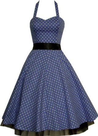 £27.99  Pretty Kitty Fashion 50s Polka Dot Blue Vintage Swing Prom Pin-Up Dress: Amazon.co.uk: Clothing