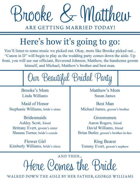 @Tiffany Petersen this is such a good idea and so fun!!: Wedding Programs, Program Ideas, Wedding Program Templates, Married, Stuff, Future, Happily, Doublesid, Funny Wedding Program