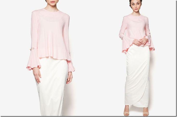 7 Sweetest Pastel Mod Kurung Ideas For Your Eid 2016 Wardrobe / pink-cream-beaded-kurung