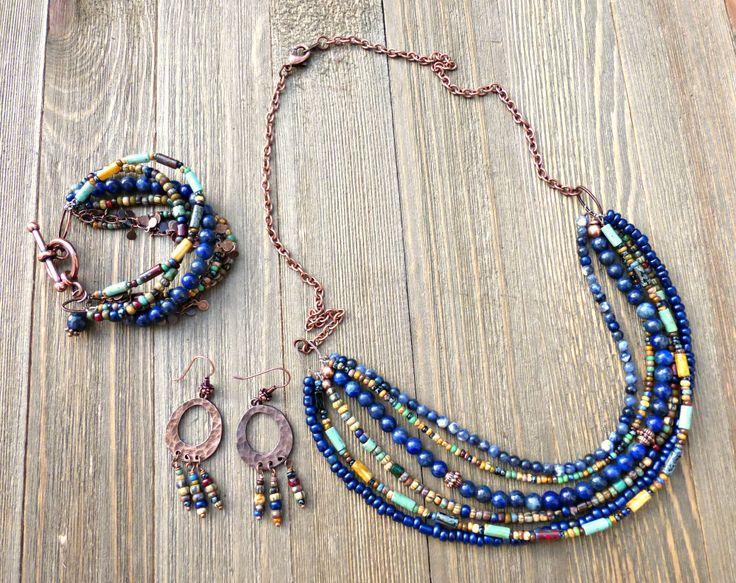 Blue Lapis Lazuli gemstone, Czech glass with copper metal.  Jewelry set, necklace, earrings, and bracelet.