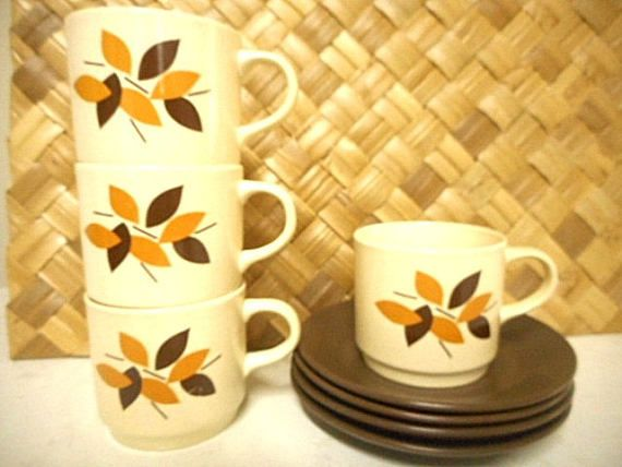 Johnson of Australia 70s Cup and Saucer Duos Set of Four