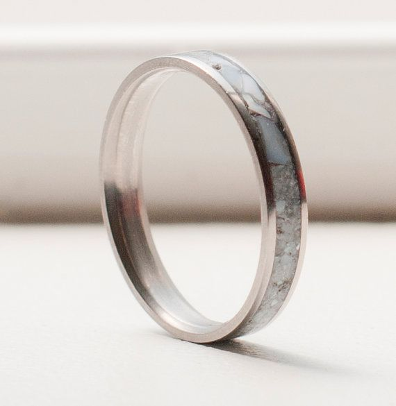 MOTHER OF PEARL WEDDING BAND - STACKING RING (available in titanium, silver, or gold) — STAGHEAD DESIGNS