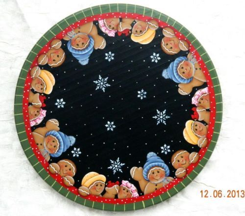 """HP """" LET IT SNOW GINGERBREAD """" Handpainted Wood Lazy Susan Turntable"""