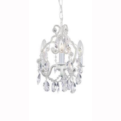 Hampton Bay 3 Light White Mini Chandelier With Crystal Drops And Bead Strands