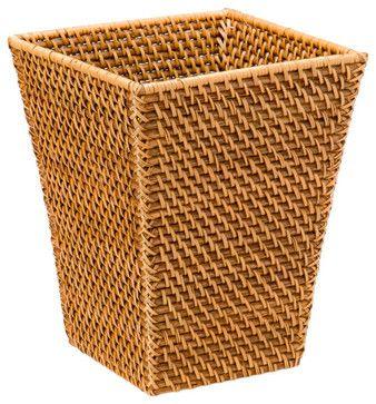 Square Waste Basket in Rattan, Honey-Brown - tropical - Wastebaskets - KOUBOO
