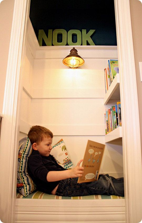 I did this in my closet as a kid with out it all fancy. A great idea, though I would keep the door on it. Being able to shut everything out while I was reading was the best part of being in my closet.
