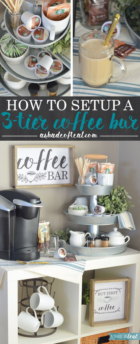 My updated coffee bar! Learn how to setup a 3-tier Coffee Bar, plus get these FREE Coffee Printables! #StarbucksCaffeLatte, #MyStarbucksatHome #ad | A Shade Of Teal