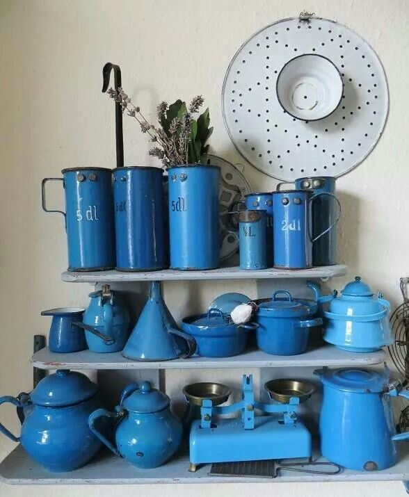 Gorgeous blue enamelware collection