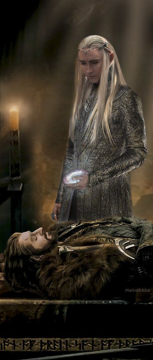 When the extended edition featured the funeral, I was expecting this to happen but it didn't which is a bummer because it totally redeems Thranduil- especially considering the fact that they made him a selfish jerk in the films. -_-  He also invites Bilbo to come chill with him in Mirkwood for a while which is awesome.