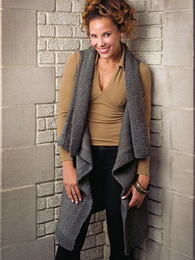 Let It Flow Knitting Pattern Download from e-PatternsCentral.com -- Knit a go-with-anything vest that drapes and flows beautifully to knee length in the front.