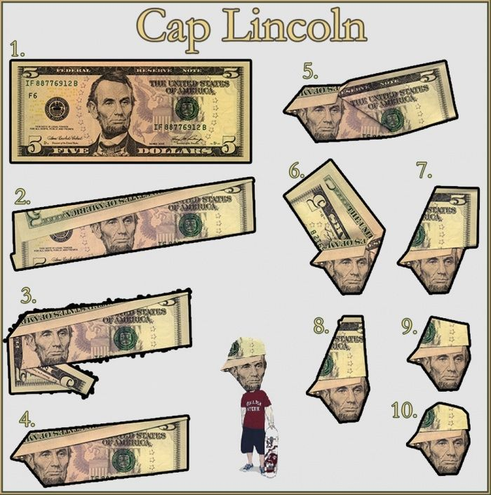 Lincoln wearing a baseball hat! OragamiIdeas, Head Of Garlic, Stuff, Money Origami, Funny, Diy, Caplincoln, Cap Lincoln, Crafts