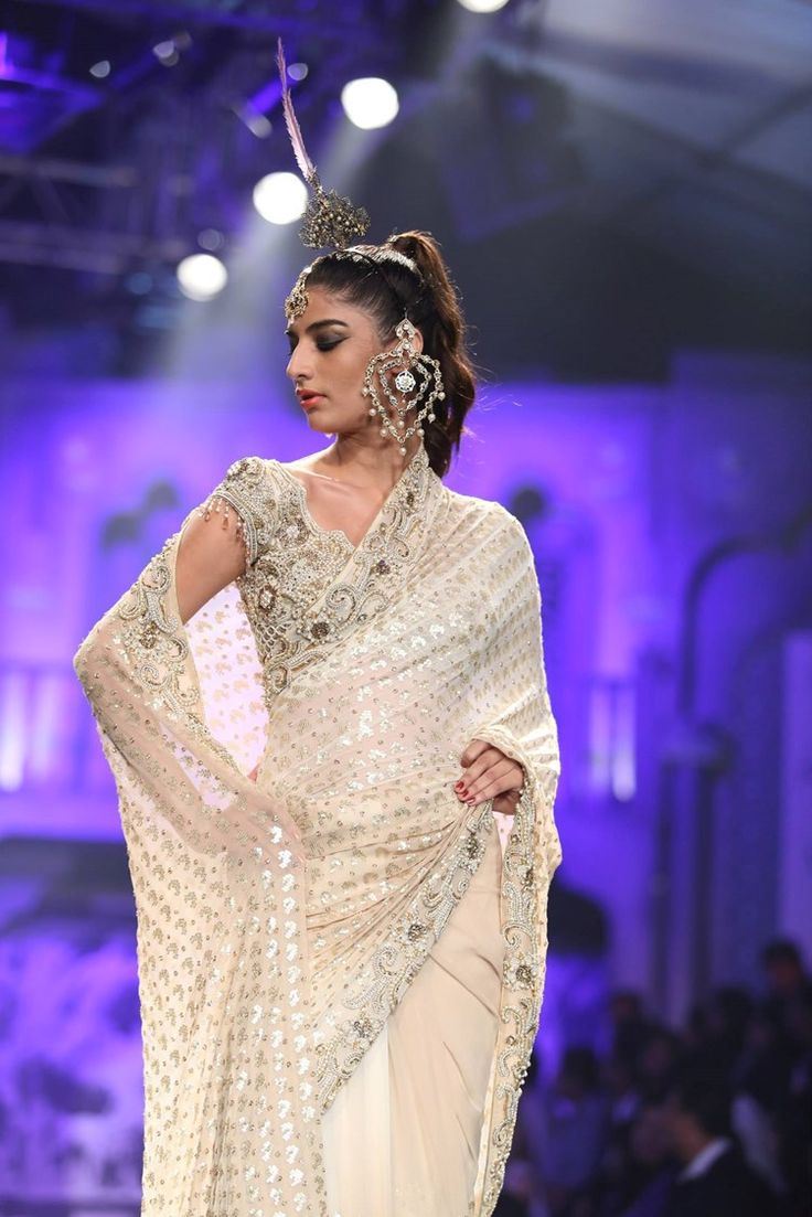 love the vintage style wedding sari and earrings | Suneet Varma Indian Bridal Collection 2015