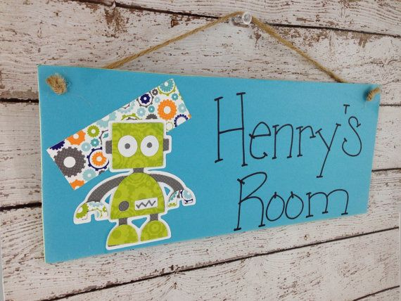 Hey, I found this really awesome Etsy listing at https://www.etsy.com/listing/155324128/personalized-robot-kids-door-sign-or