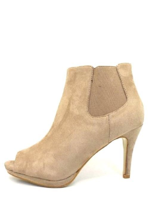 NEW LADIES WOMEN KHAKI ANKLE BOOTS PEEP TOE HIGH HEELS ZIP SHOES SIZE 3-7.5 UK