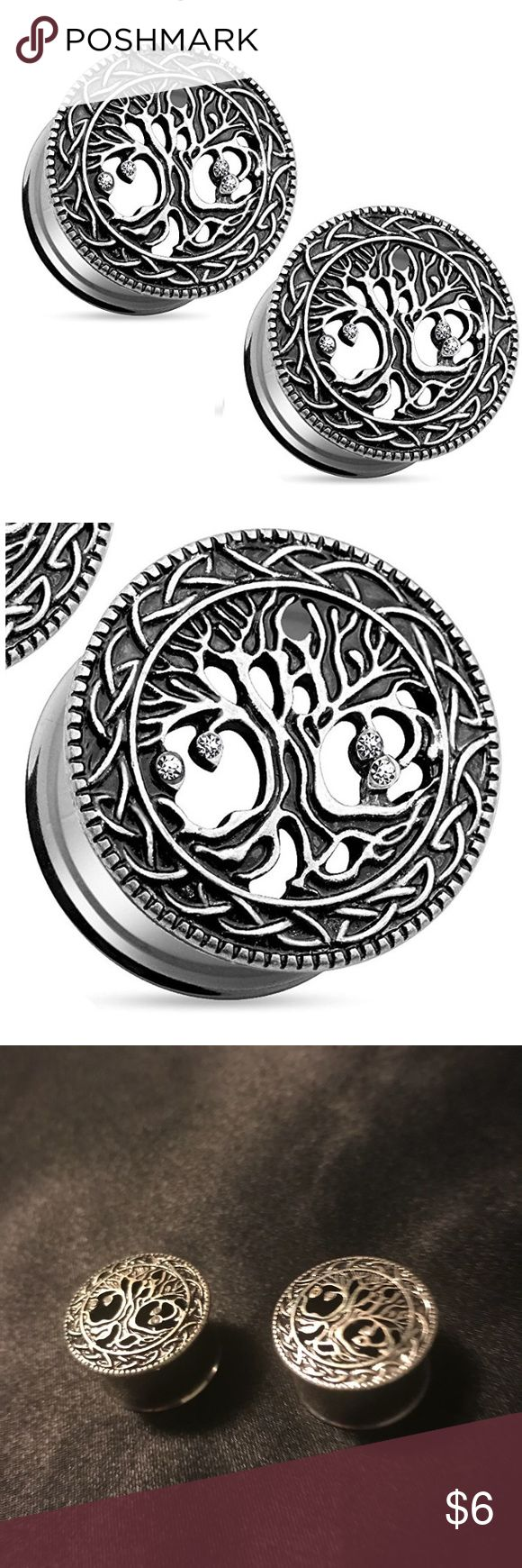 3/4in gauge tree of life earrings/plugs w/ CZ gems EUC. Surgical Steel and cubic zirconia gems. Gorgeous plugs that look like oxidized silver and diamonds! Jewelry Earrings